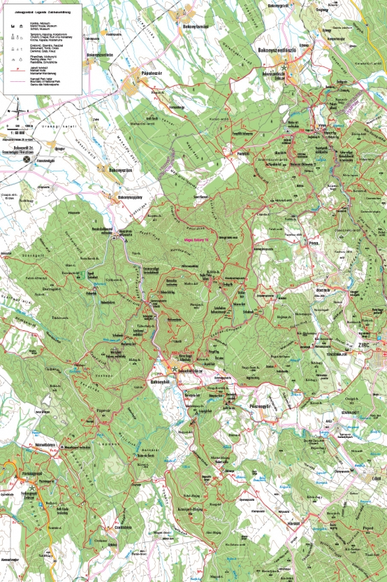 Bakonybél és környéke turista térkép