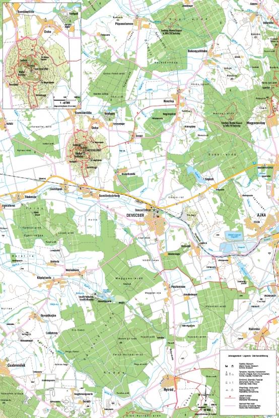 Devecser és környéke turista térkép